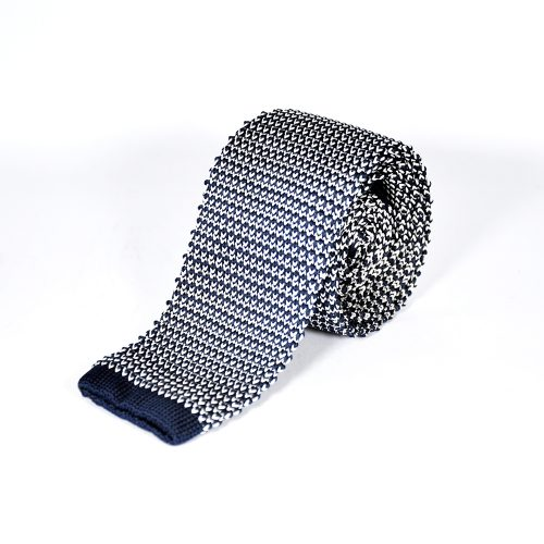 Blue-White-Knitted-Tie