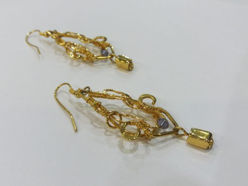 Gold Amythest beaded earrings
