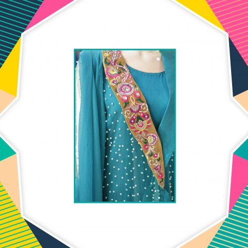 Embroidered Jamawar Open Gown with Pearls & Stone Work