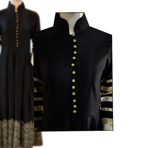 Black & Golden Silk Long Frock with Tilla Embroidery