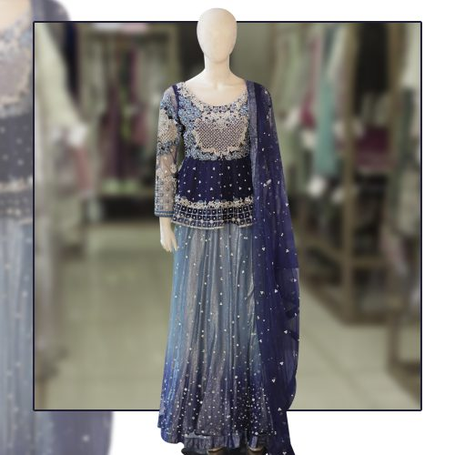 Royal Wedding Navy Blue Thread Work Lehenga Choli