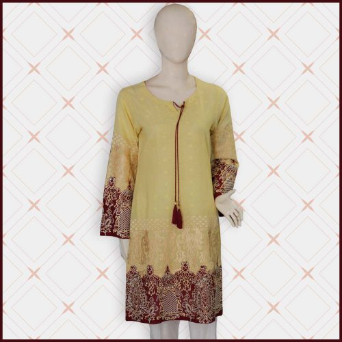 Yellow Lawn Shirt with Embroidery and Thread Work