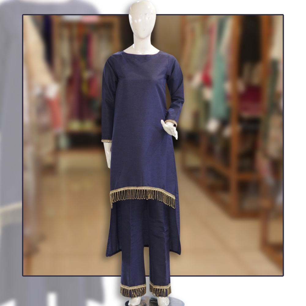 Navy Blue Back Tail Shirt And Trouser With Lace Design