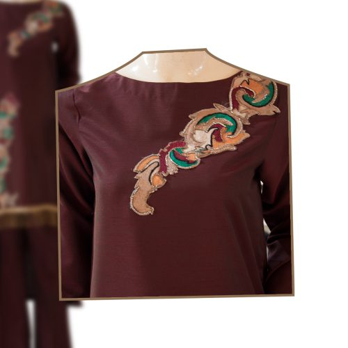 Maroon Back Tail Dress with Fancy Motif and Lace