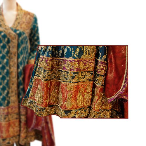 Zink Blue Angrakha Frock Style Dress with Zari Work