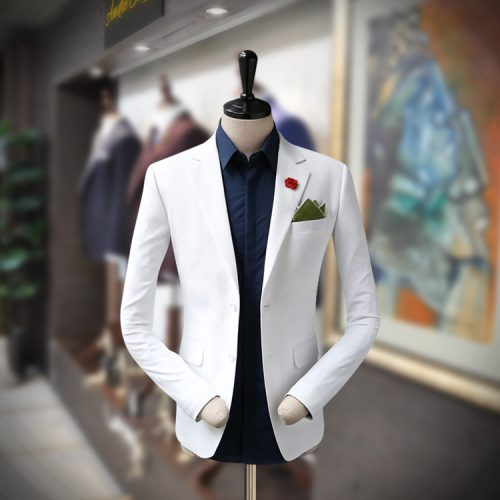 White Customize Men's Blazer for Summer-