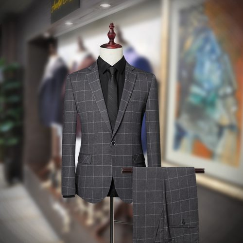 Men's Charcoil Windowpane Check Slim Fit Suit