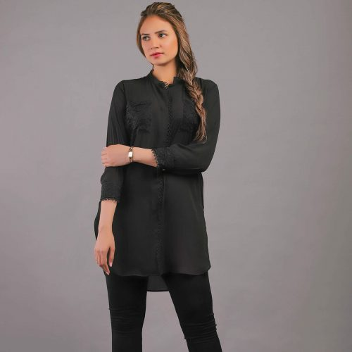 Front Open Black Georgette Top with Lace Patch Pockets